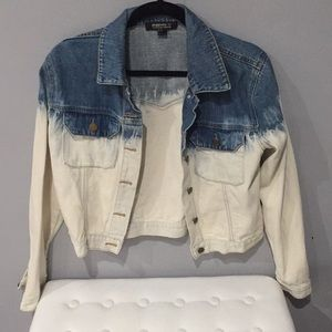 Two Toned Bleach Denim Jacket